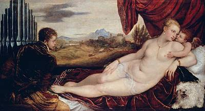 Religion Painting - Venus With The Organ Player by Titian