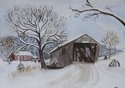 Painting - Vermont Covered Bridge In Winter by Donna Walsh