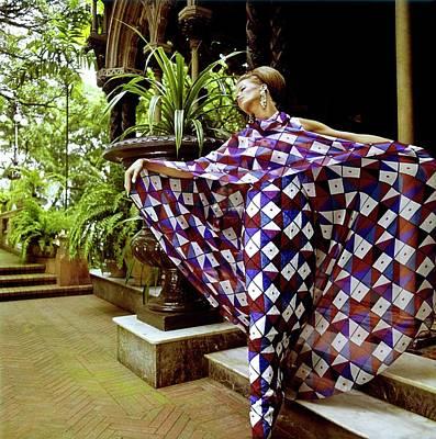 Photograph - Veruschka Wearing A Galanos Dress by Henry Clarke