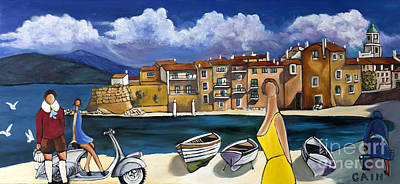 Vespa And French Cove Art Print