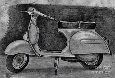 Drawing - Vespa by Pencil Drawing