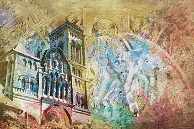 Chartre Painting - Vezelay Church And Hill by Catf