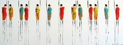 Masai Painting - Vibrant Masai Warriors - Original Artwork by Tracey Armstrong