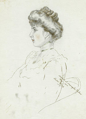 Hair Bun Drawing - Victoria Eugenia, Queen Of  Spain by Mary Evans Picture Library
