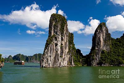 Photograph - Vietnamese Junk Cruising On Halong Bay Vietnam by Fototrav Print