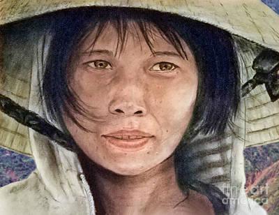 Vietnamese Woman Wearing A Conical Hat Art Print by Jim Fitzpatrick