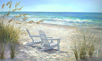 Beach Scene Painting - View For Two by Laurie Hein