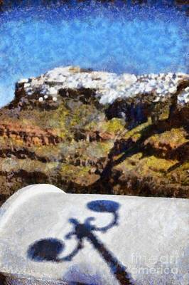 Cliff Painting - View From Firostefani In Santorini Island by George Atsametakis