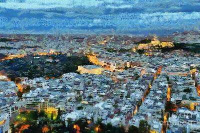 Paint Painting - View Of Athens During Dawn by George Atsametakis