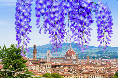 View Of City Center Of Florence Print by Nico Tondini