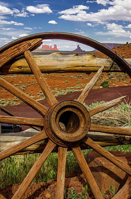 Wagon Wheels Photograph - View Of Monument Valley From Venerable by Jerry Ginsberg