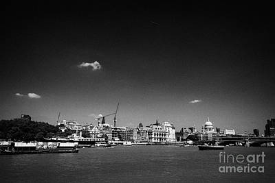 Victoria Embankment Photograph - view of north bank of the river thames London England UK by Joe Fox