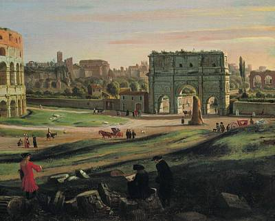 View Of The Colosseum With The Arch Art Print
