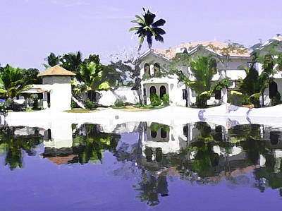 View Of The Cottages And Lagoon Water In Alleppey Art Print