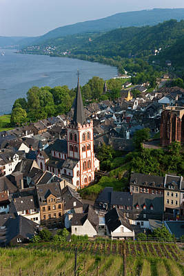 Rooftops Photograph - View Over Bacharach And River Rhine by Peter Adams