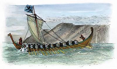 Viking Ship, C1000 Art Print by Granger