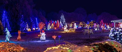 Photograph - Village In Christmas Lights Panoramic View by Brch Photography