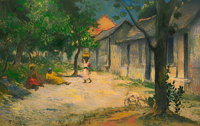 Martinique Painting - Village In Martinique  by Mountain Dreams