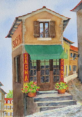 Wooden Stairs Painting - Village In Provence by Mary Ellen Mueller Legault