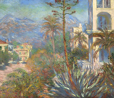 Antique Italian Oil Painting - Villas At Bordighera by Mountain Dreams