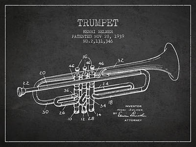 Music Digital Art - Vinatge Trumpet Patent From 1939 by Aged Pixel