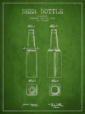 Glass Wall Digital Art - Vintage Beer Bottle Patent Drawing From 1934 - Green by Aged Pixel