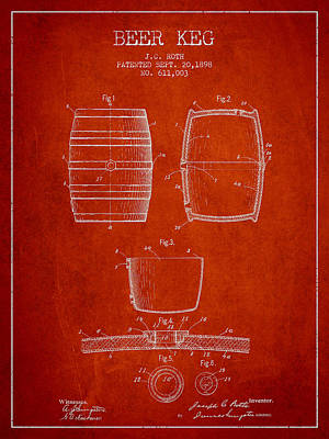 Beer Royalty-Free and Rights-Managed Images - Vintage Beer Keg Patent Drawing from 1898 - Red by Aged Pixel