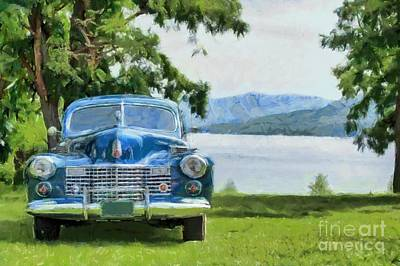 Pencil Drawing Photograph - Vintage Blue Caddy At Lake George New York by Edward Fielding