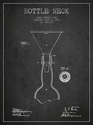 Glass Wall Digital Art - Vintage Bottle Neck Patent From 1891 by Aged Pixel