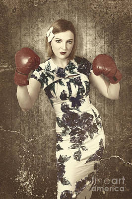 Athletes Royalty-Free and Rights-Managed Images - Vintage boxing pinup poster girl. Retro fight club by Jorgo Photography - Wall Art Gallery