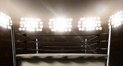 Fight Digital Art - Vintage Boxing Ring In Arena by Allan Swart