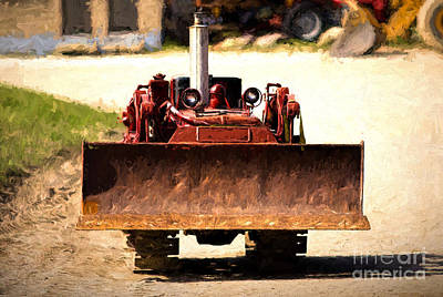 Digital Art - Vintage Bulldozer by Les Palenik