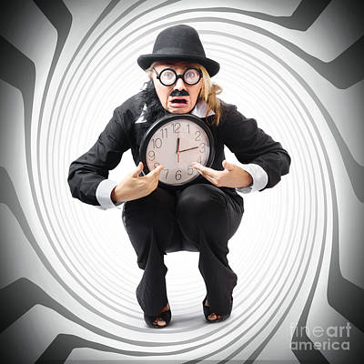 Vintage Business Man Stuck With Clock. Time Crunch Art Print