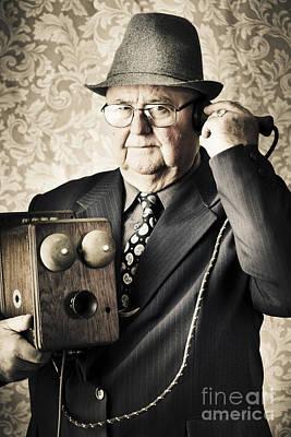 Vintage Business Man Using Retro Telephone Art Print by Jorgo Photography - Wall Art Gallery
