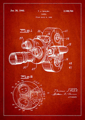 Vintage Camera Digital Art - Vintage Camera Patent Drawing From 1938 by Aged Pixel