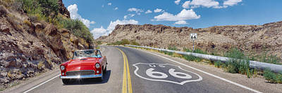 Markings Photograph - Vintage Car Moving On The Road, Route by Panoramic Images