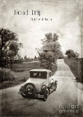 Vintage Car On A Rural Road Art Print