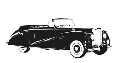 Hand Drawn Digital Art - Vintage Car Black And White I by Art Spectrum