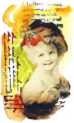 Smiling Mixed Media - Vintage-card by Ira Ivanova