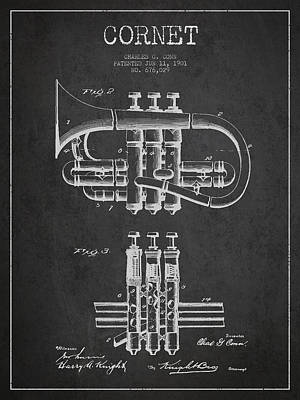 Trumpet Digital Art - Cornet Patent Drawing From 1901 - Dark by Aged Pixel