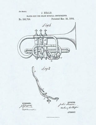 Trumpet Player Drawing - Water Key Patent Drawing On Blue Background by Steve Kearns