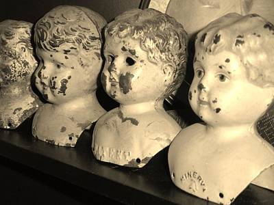 Black And White Photograph - Vintage Doll Heads by Ann Neville