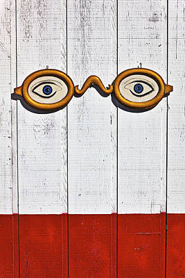 Glass Wall Photograph - Vintage Eye Sign On Wooden Wall by Garry Gay
