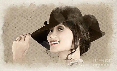 Vintage Hats Photograph - Vintage Fashion Portrait. Woman In Wide Brim Hat by Jorgo Photography - Wall Art Gallery