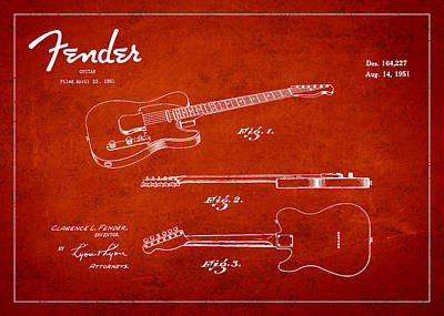 Western Art - Vintage Fender Guitar Patent Drawing from 1951 by Aged Pixel