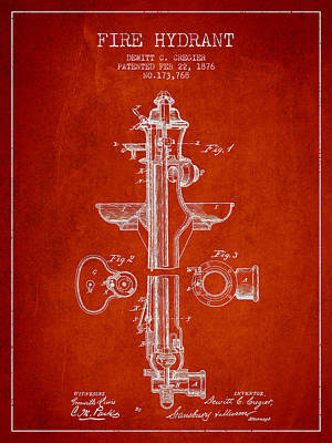 Digital Art - Vintage Fire Hydrant Patent From 1876 by Aged Pixel