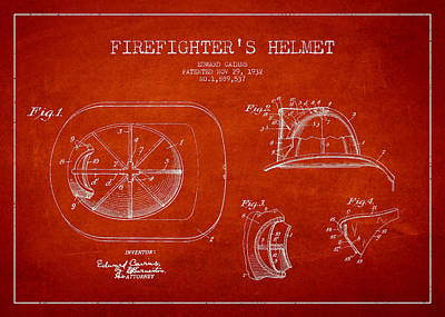 Inventor Drawing - Vintage Firefighter Helmet Patent Drawing From 1932 by Aged Pixel