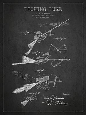 Vintage Fishing Lure Patent Drawing From 1929 Art Print
