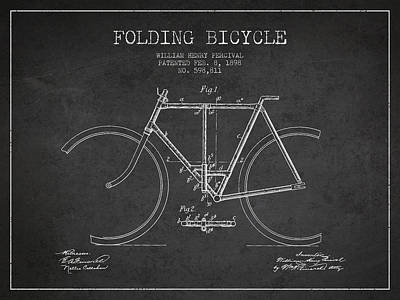 Transportation Digital Art - Vintage Folding Bicycle patent from 1898 by Aged Pixel
