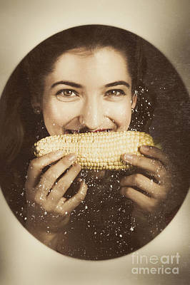 Vintage Food Product Advert. Woman Eating Corncob  Art Print by Jorgo Photography - Wall Art Gallery